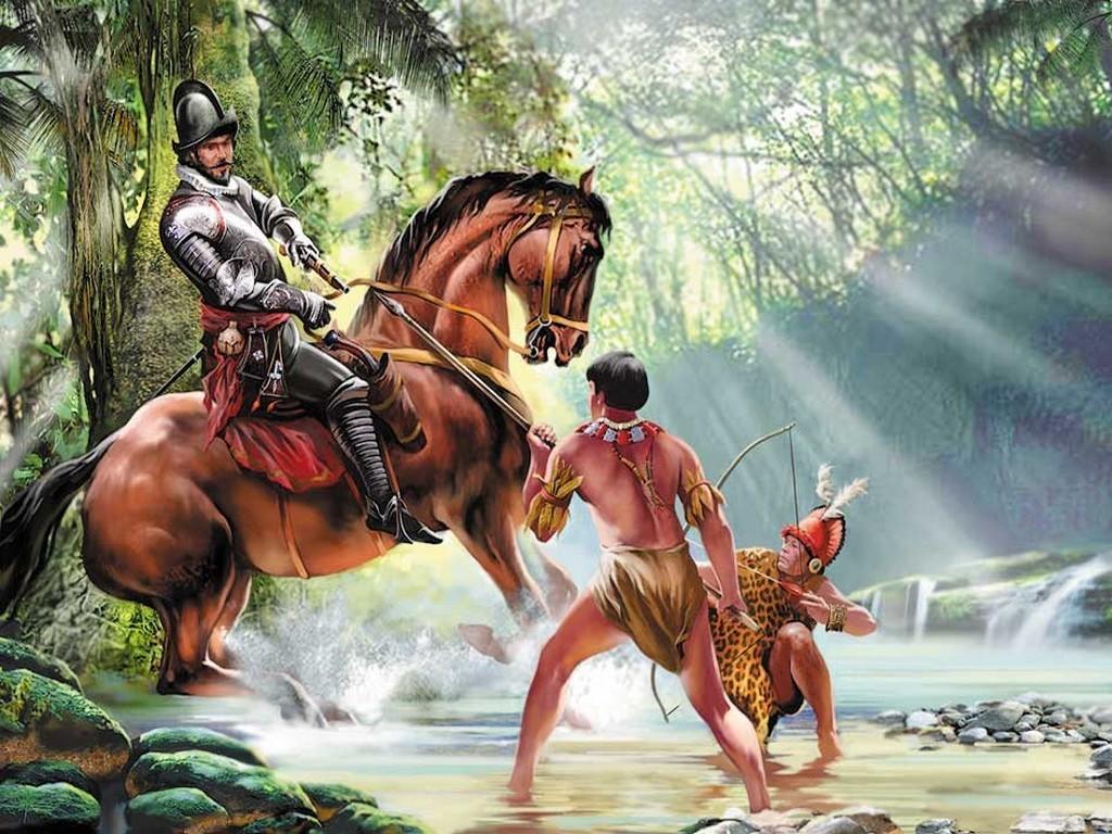 Конкистадор убивает индейца