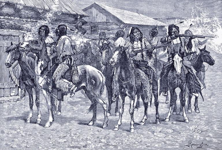Нападение индейцев на город
