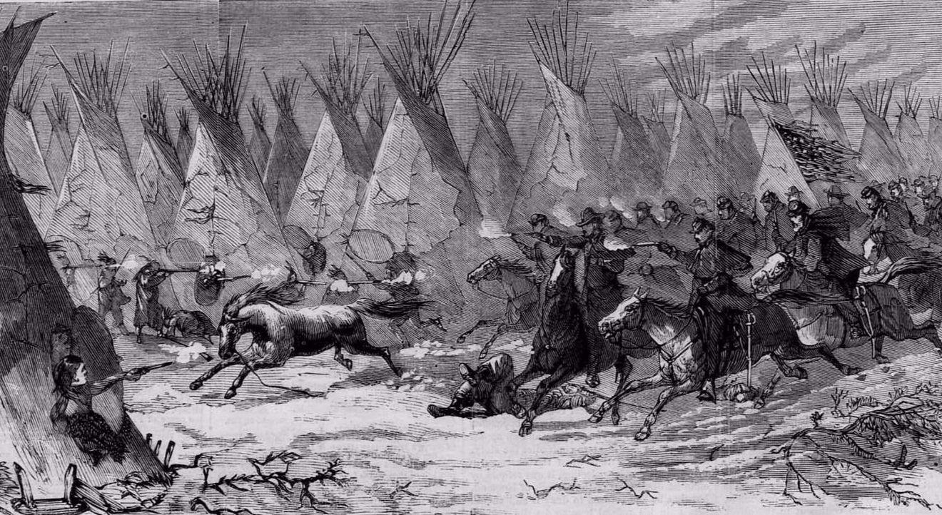 Седьмая кавалерия атакует индейцев