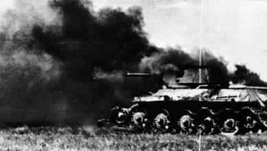 горящий советский танк