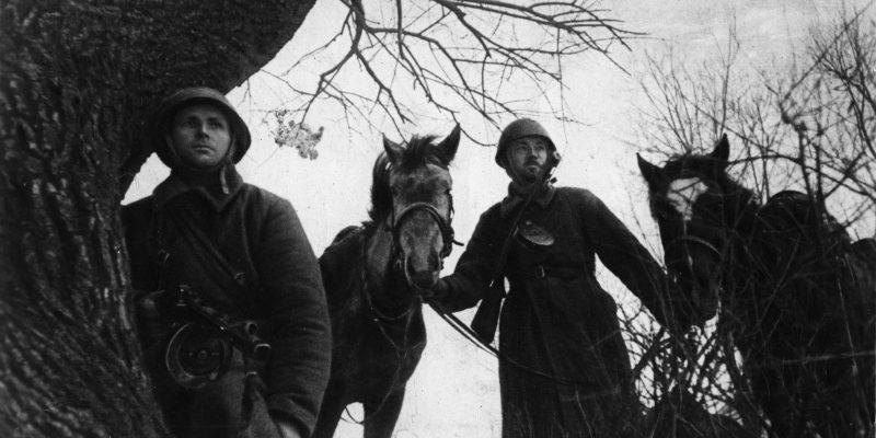 2 советских солдата рядом с конями вов