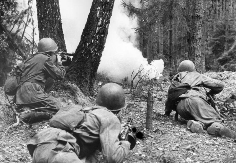Советские солдаты ведут бой в лесу ВОВ