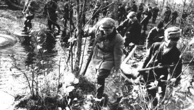 Партизаны идут по болотам ВОВ