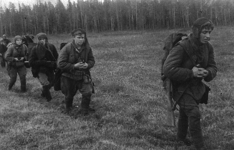 Партизаны идут по лесу ВОВ