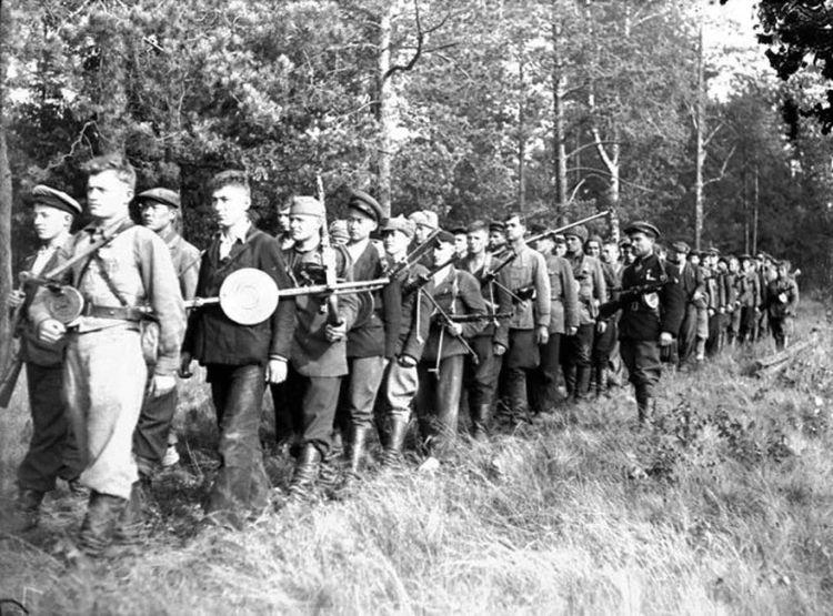 Партизанский отряд на марше ВОВ