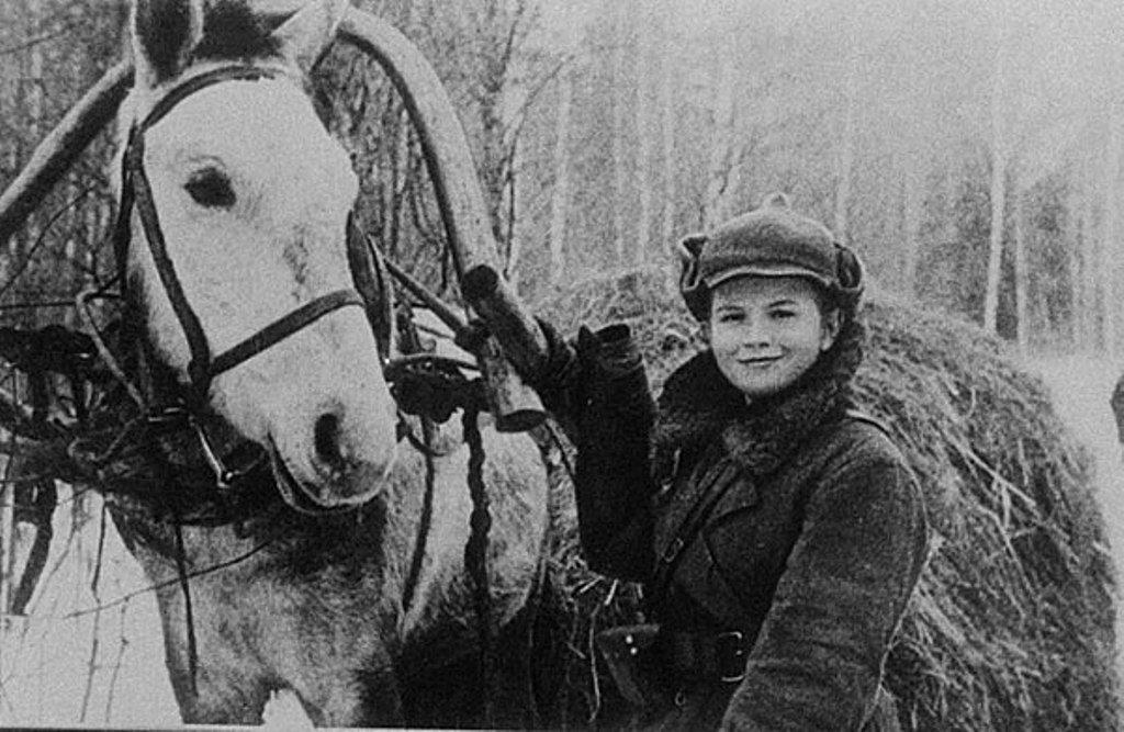 Ребенок партизан возле коня Вов