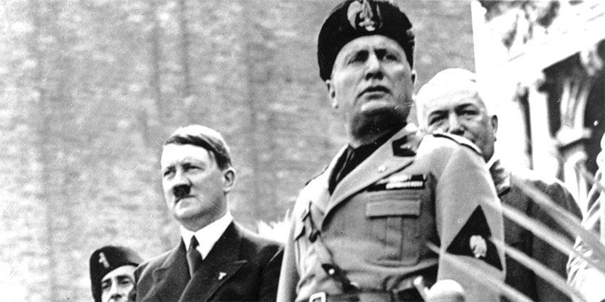 Бенито Муссолини и Гитлер