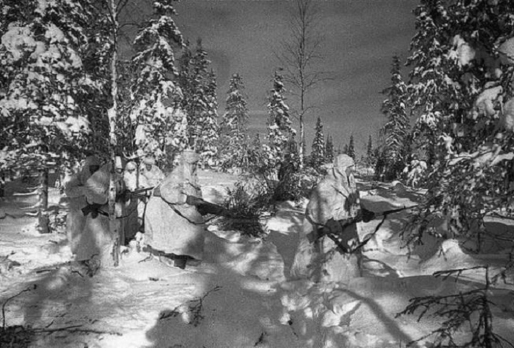 войны в лесу зимой