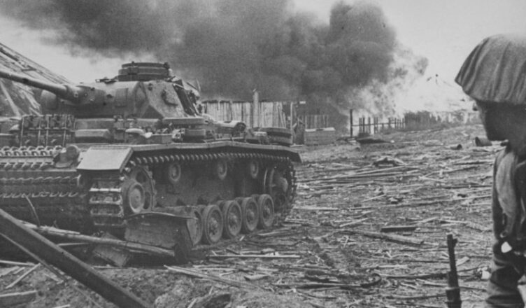 На пылающем танке